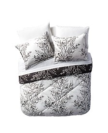 Black and White Leaf Bed-in-a-Bag Comforter Set Collection