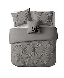 London Floral Pintuck 4 Piece Comforter Set, Queen