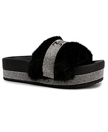 Women's Orbit Furry Platform Slide Slippers