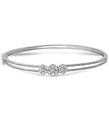 Diamond Triple Cluster Bangle Bracelet (1 ct. t.w.) in 10k White Gold