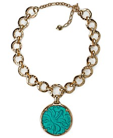"""Gold-Tone Link & Round Leather Pendant Necklace, 28"""" + 3"""" extender"""