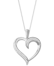 "Diamond Swirl Heart 18"" Pendant Necklace (1/10 ct. t.w.) in 10k White Gold"