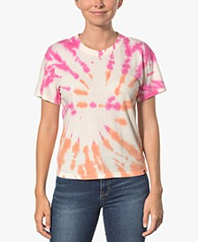 Juniors' Cotton Tie-Dyed Girlfriend T-Shirt