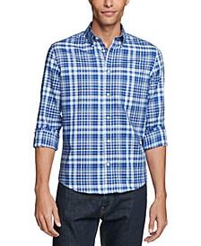 Men's Regular-Fit Untucked Blue Plaid Dress Shirt