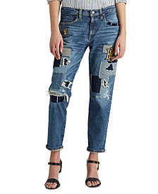 Rolled Cuff Patchwork Jeans