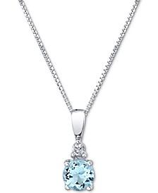 "Aquamarine (1/3 ct. t.w.) & Diamond Accent 18"" Pendant Necklace in 14k White Gold"