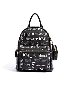 Love Blessed Pom Pom Vegan Leather Backpack