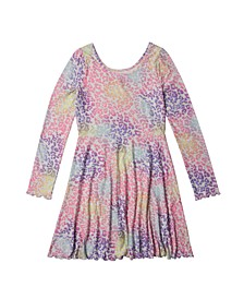 Big Girls Long Sleeve All Over Print Dress