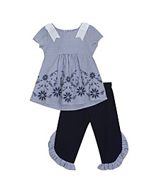 Toddler Girls Embroidered Leggings Set