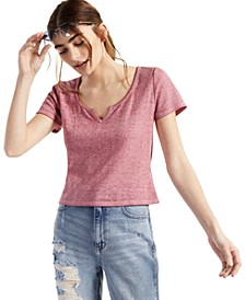 Juniors' Waffle-Knit Notched-Neck Top