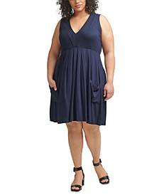 Plus Size Pleated-Neck A-Line Dress