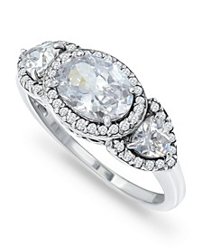 Cubic Zirconia 3 Stone Oval Fine Silver Plate or 18K Gold Plate Ring