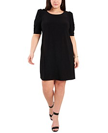 Plus Size Puffed-Sleeve Dress
