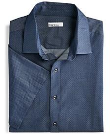 Men's Slim-Fit Performance Stretch Micro-Dot Dobby Short Sleeve Dress Shirt, Created for Macy's