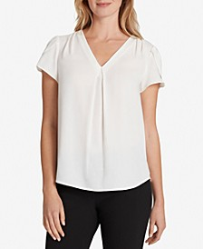 Tulip-Sleeve V-Neck Blouse