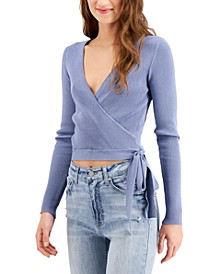 Juniors' Ribbed Tie-Side Sweater