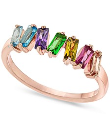 INC Rose Gold-Tone Multicolor Baguette-Crystal Ring, Created for Macy's