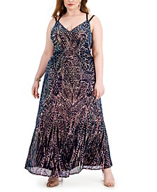 Sequined Strappy-Back Gown