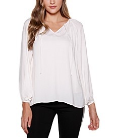 Black Label Keyhole Peasant Top