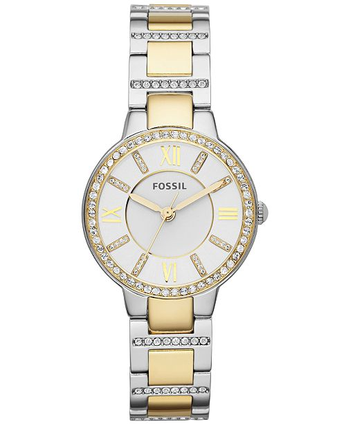 Fossil Women's Virginia Crystal Accent Two-Tone Stainless Steel Bracelet Watch 34mm ES3503
