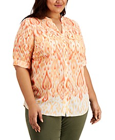 Plus Size Printed Roll-Sleeve Top