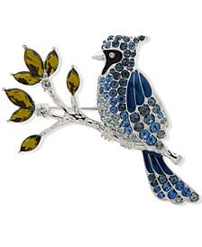 Silver-Tone Crystal & Stone Cardinal Pin
