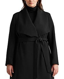 Plus-Size Belted Wrap Coat