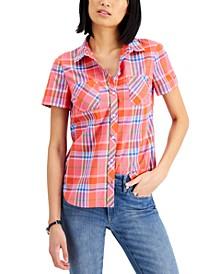 Cotton Plaid Camp Shirt