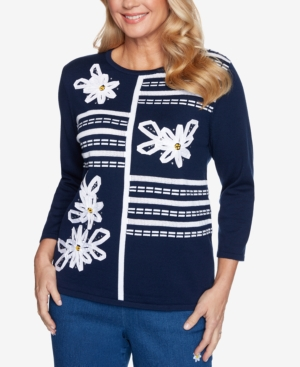 Alfred Dunner Sweaters PETITE LAZY DAISY RIBBON FLORAL-APPLIQUE SWEATER