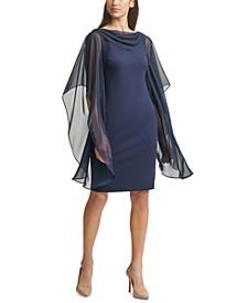 Petite Drape-Neck Scuba-Crepe Sheath Dress
