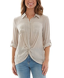 Juniors' Twist-Front Button-Up Top