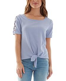 Juniors' Tie-Front Lattice-Sleeve Top