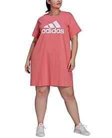 Plus Size Cotton Badge of Sports T-Shirt Dress