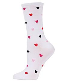 Women's Delicate Hearts Bamboo Crew Socks