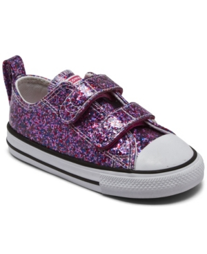 Converse TODDLER GIRLS COATED GLITTER EASY-ON CHUCK TAYLOR ALL STAR CASUAL SNEAKERS FROM FINISH LINE