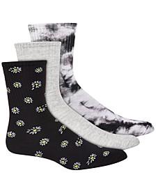 Women's 3pk Daisy & Tie-Dyed Crew Socks, Created for Macy's