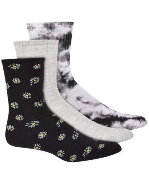 Women's 3pk Daisy & Tie-Dyed Crew Socks