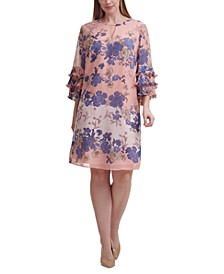 Plus Size Ruffled-Cuff Floral-Print Dress