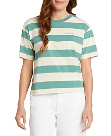 Juniors' Striped Logo T-Shirt