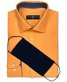Men's Slim-Fit Non-Iron Performance Solid Dress Shirt with Pleated Face Mask