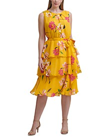 Plus Size Floral Print Tiered Dress
