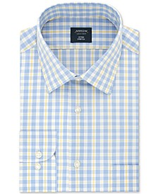 Men's Fitted Wrinkle-Free Performance Stretch Check Dress Shirt