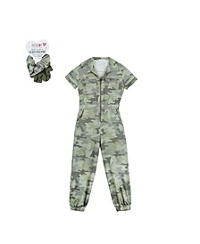 Big Girls Camo Print Jumpsuit with Scrunchies