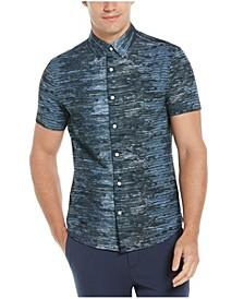 Men's Slim Fit Paint Stripe Print Short Sleeve Button-Down Shirt