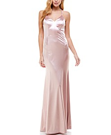 Juniors' Lace-Back Satin Gown, Created for Macy's