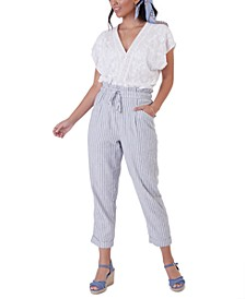 Petite Striped Cuffed Ankle Pants
