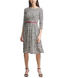 Belted Animal-Print Midi Dress