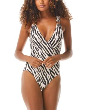 Animal-Print Surplice One-Piece Swimsuit Women's Swimsuit