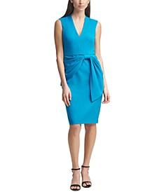 Scuba-Crepe Side-Tie Sheath Dress