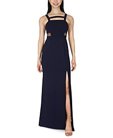 Juniors' Strappy Mesh-Inset Gown